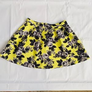 ASOS Floral Pleated Yellow Mini Skirt
